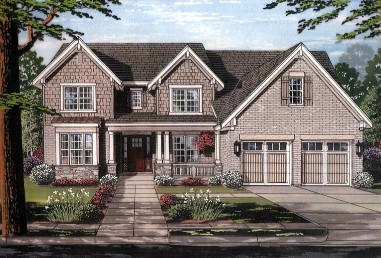 Country Craftsman Traditional House Plan 98665 Elevation