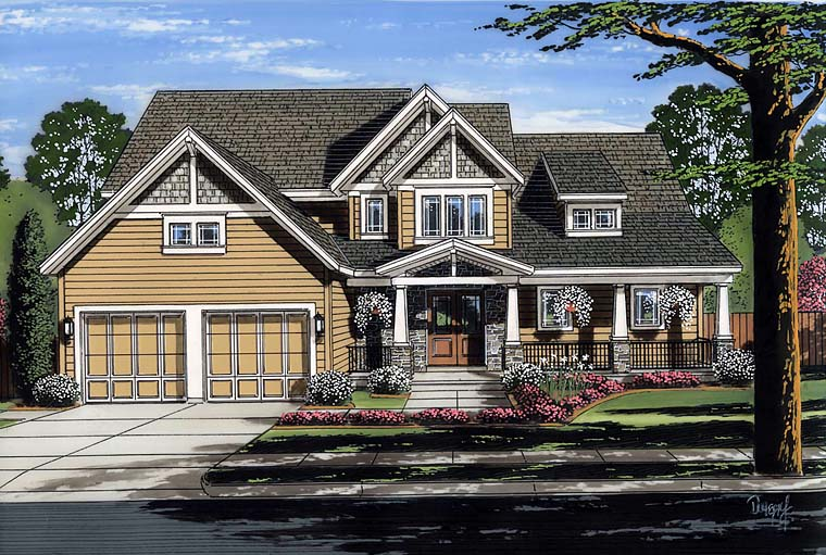 Cottage Country Craftsman House Plan 98667 Elevation