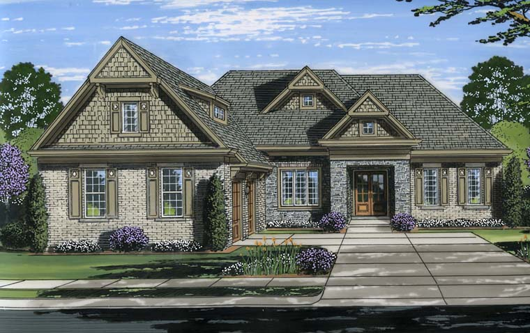 Craftsman , Traditional House Plan 98668 with 3 Beds, 2 Baths, 2 Car Garage Elevation