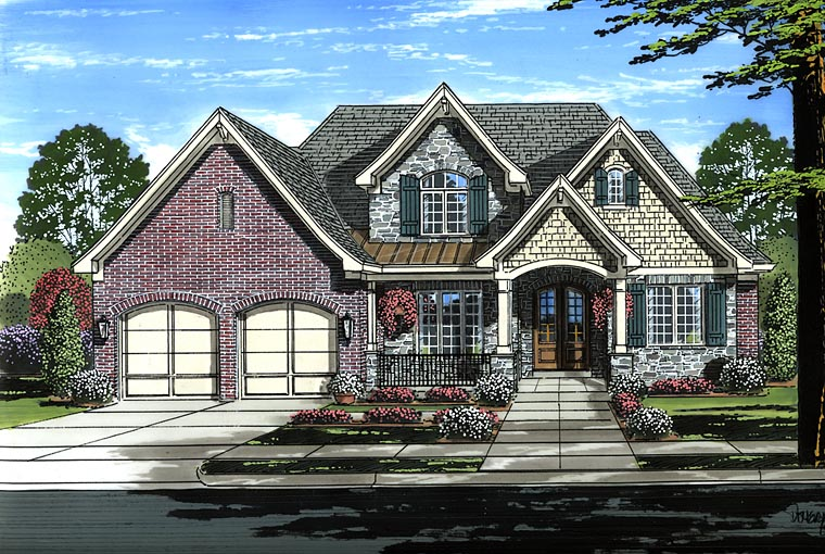 Craftsman European Traditional House Plan 98669 Elevation