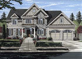 Traditional , European , Country House Plan 98670 with 4 Beds, 4 Baths, 2 Car Garage Elevation