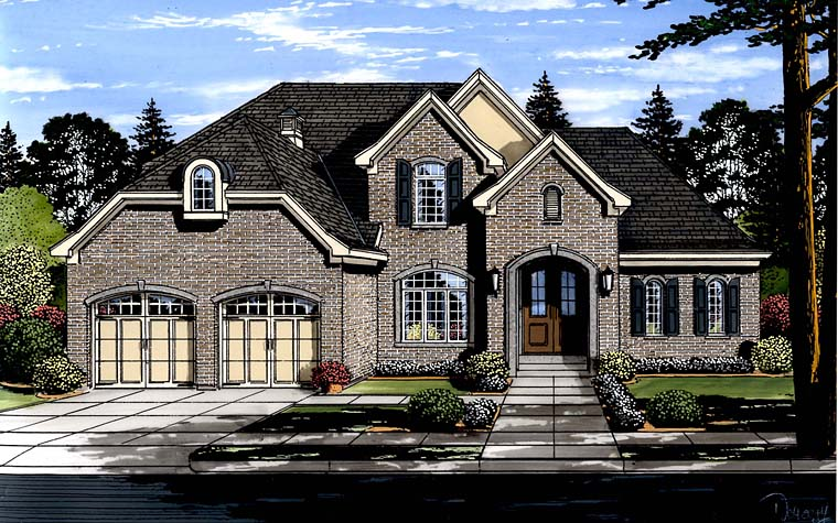 European , Traditional , Tudor House Plan 98671 with 4 Beds, 4 Baths, 2 Car Garage Elevation