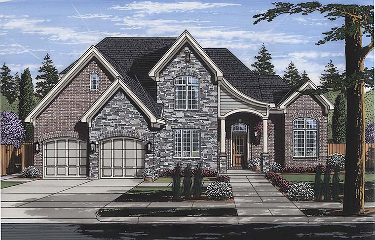 European Traditional Tudor House Plan 98672 Elevation