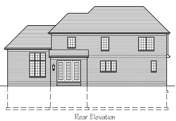 European Traditional Tudor House Plan 98672 Rear Elevation