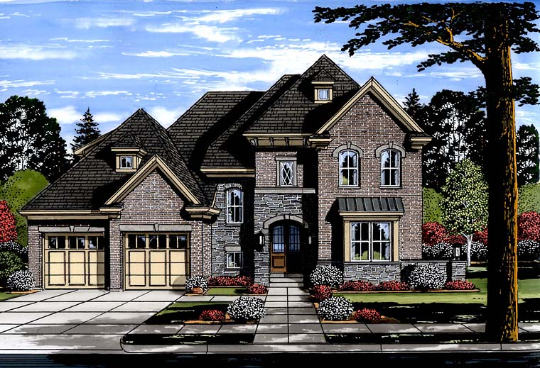 European Traditional Tudor House Plan 98673 Elevation