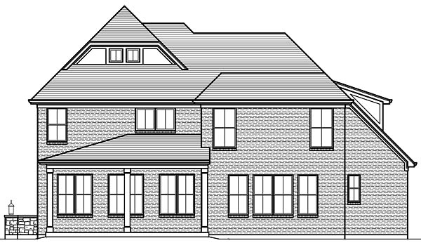 European Traditional Tudor House Plan 98673 Rear Elevation