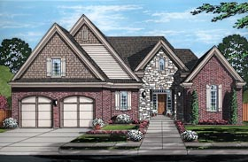 Traditional , European House Plan 98675 with 4 Beds, 3 Baths, 2 Car Garage Elevation