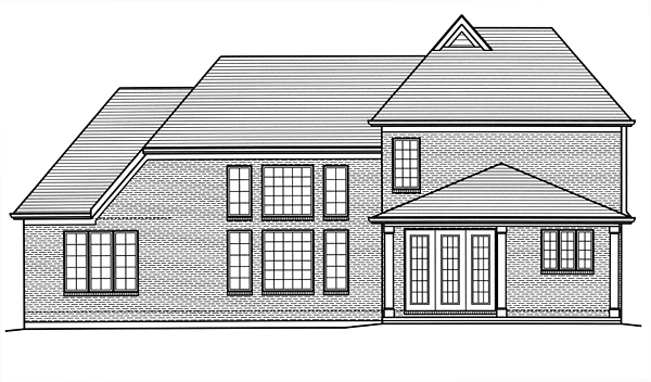 Traditional , European House Plan 98675 with 4 Beds, 3 Baths, 2 Car Garage Rear Elevation