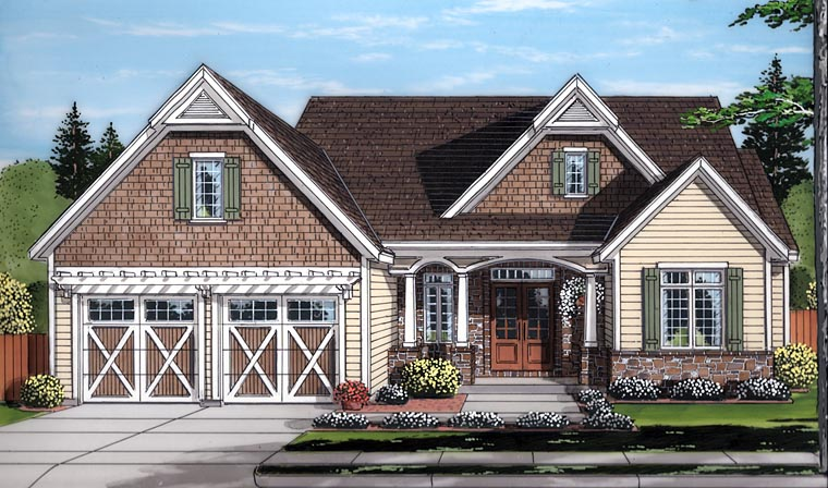 Country Craftsman Traditional House Plan 98677 Elevation