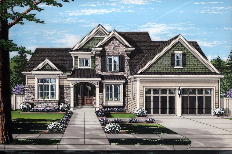 Craftsman , European , Traditional House Plan 98678 with 4 Beds, 4 Baths, 2 Car Garage Elevation