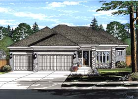 House Plan 98681 | Contemporary Style Plan with 2063 Sq Ft, 3 Bedrooms, 2 Bathrooms, 3 Car Garage Elevation