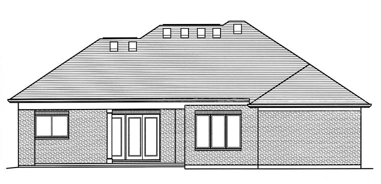House Plan 98681 | Contemporary Style Plan with 2063 Sq Ft, 3 Bedrooms, 2 Bathrooms, 3 Car Garage Rear Elevation
