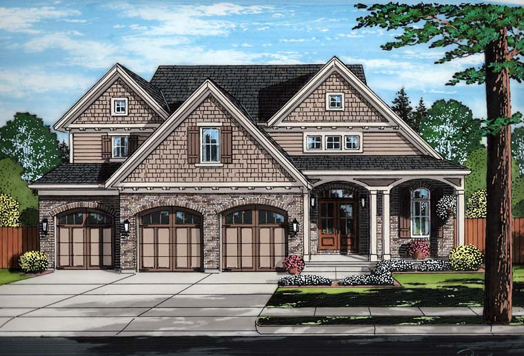 Craftsman European Traditional House Plan 98682 Elevation