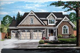 House Plan 98685 | Cottage, Country, Craftsman, European, Traditional Style House Plan with 2481 Sq Ft, 4 Bed, 2 Bath, 3 Car Garage Elevation