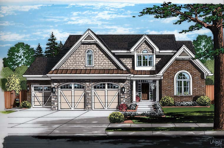 Cottage , Country , Craftsman , European , Traditional House Plan 98685 with 4 Beds, 2 Baths, 3 Car Garage Elevation