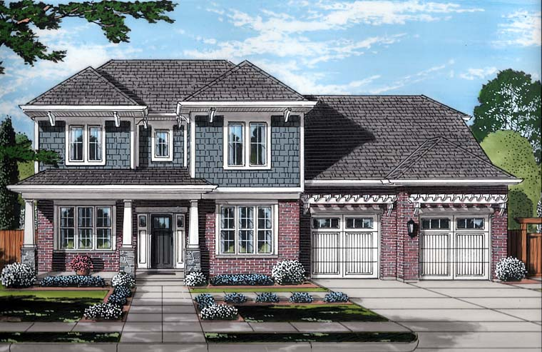 Country Craftsman Southern Traditional Elevation of Plan 98689