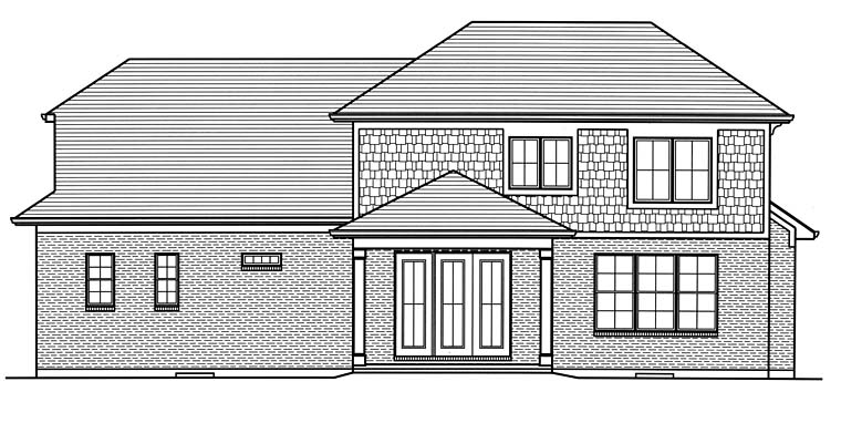 Country Craftsman Southern Traditional Rear Elevation of Plan 98689
