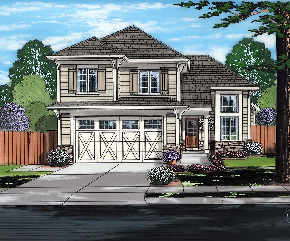Contemporary, Cottage House Plan 98690 with 3 Beds, 3 Baths, 2 Car Garage Elevation