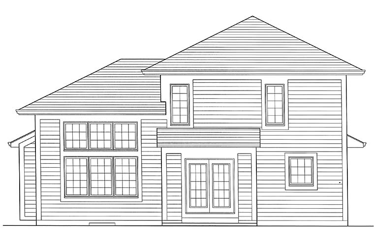 Contemporary, Cottage House Plan 98690 with 3 Beds, 3 Baths, 2 Car Garage Rear Elevation