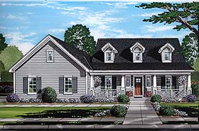 House Plan 98691   Cape Cod Country Southern Style Plan with 1790 Sq Ft, 3 Bedrooms, 3 Bathrooms, 2 Car Garage Elevation
