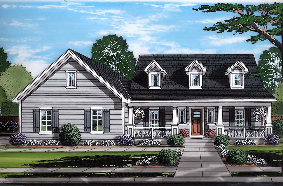 Cape Cod , Country , Southern House Plan 98691 with 3 Beds, 3 Baths, 2 Car Garage Elevation