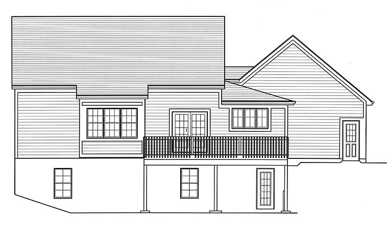 Cape Cod , Country , Southern House Plan 98691 with 3 Beds, 3 Baths, 2 Car Garage Rear Elevation