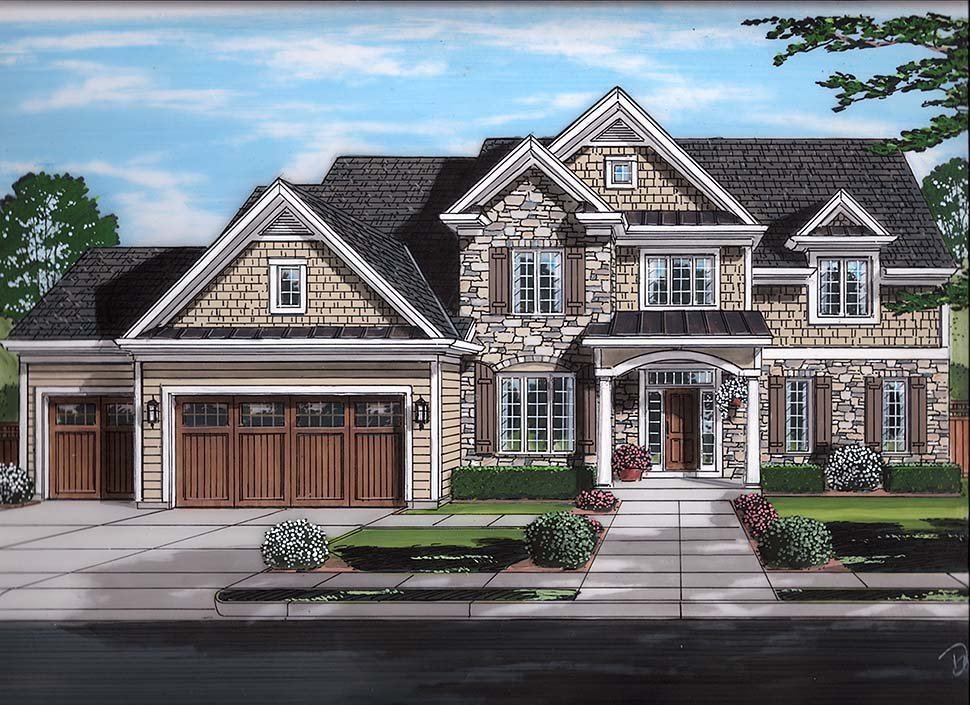 House Plan 98692 | Country Craftsman Traditional Style Plan with 3455 Sq Ft, 4 Bedrooms, 4 Bathrooms, 3 Car Garage Elevation