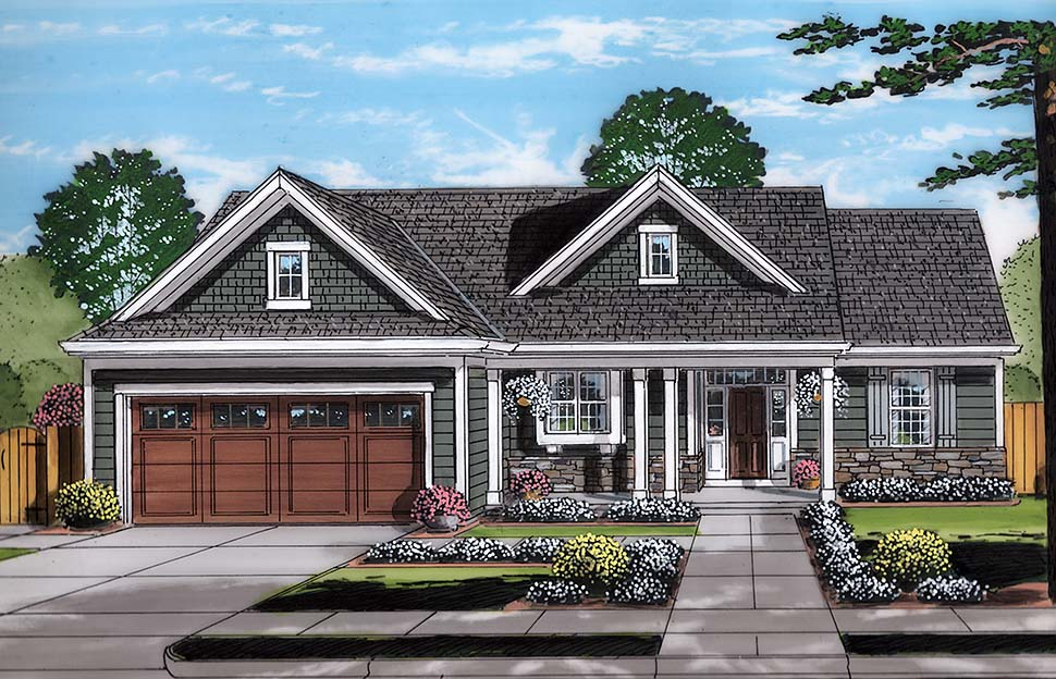 Bungalow , Cottage , Ranch House Plan 98695 with 3 Beds, 2 Baths, 2 Car Garage Elevation