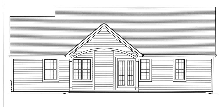 Bungalow , Cottage , Ranch House Plan 98695 with 3 Beds, 2 Baths, 2 Car Garage Rear Elevation