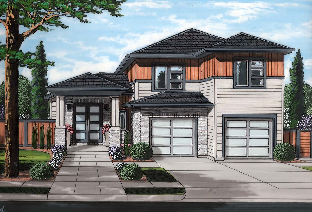 Contemporary House Plan 98697 with 3 Beds, 3 Baths, 2 Car Garage Elevation