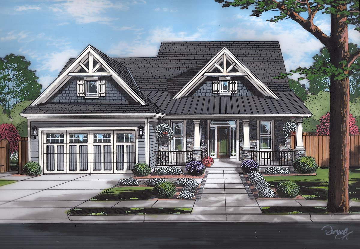 Bungalow, Cape Cod, Cottage House Plan 98698 with 4 Beds, 3 Baths, 2 Car Garage Elevation