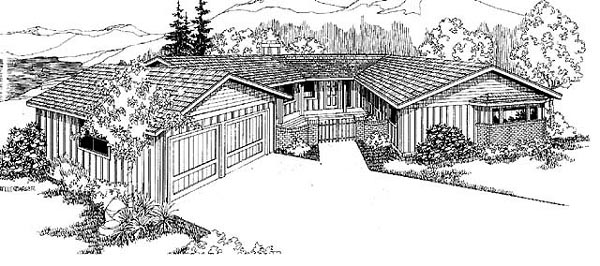 Contemporary Ranch Southwest House Plan 98717 Elevation