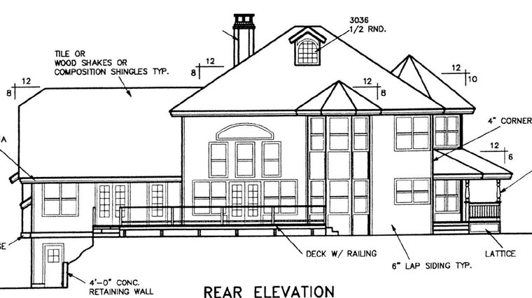 Country Farmhouse Victorian House Plan 98737 Rear Elevation