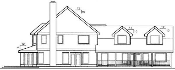 Bungalow Country European Farmhouse House Plan 98738 Rear Elevation