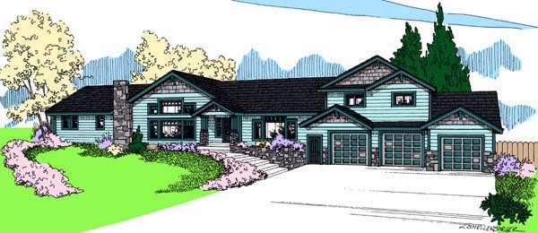 Contemporary Ranch House Plan 98765 Elevation