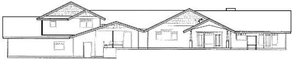 Contemporary Ranch House Plan 98765 Rear Elevation