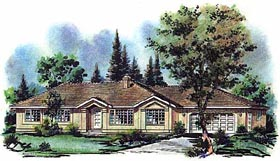 Ranch House Plan 98803 with 3 Beds, 2 Baths, 2 Car Garage Elevation