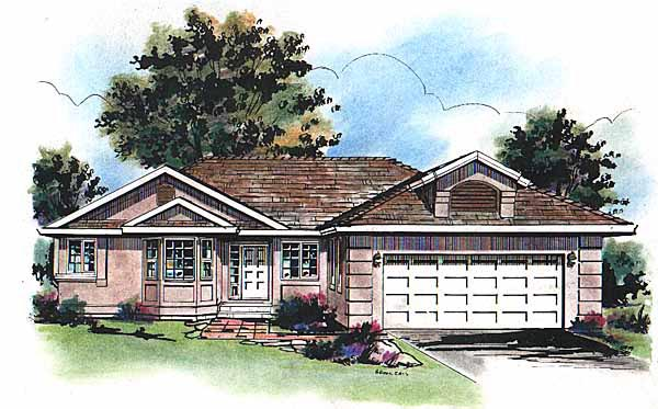 Mediterranean One-Story Elevation of Plan 98804