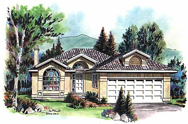 European, Florida, Mediterranean, Narrow Lot, One-Story House Plan 98806 with 3 Beds, 2 Baths, 2 Car Garage Elevation