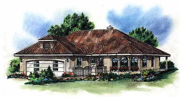 European, Florida, Mediterranean House Plan 98807 with 2 Beds , 2 Baths , 2 Car Garage Elevation