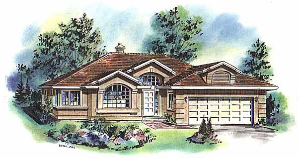 European, Mediterranean House Plan 98814 with 3 Beds, 2 Baths, 2 Car Garage Elevation