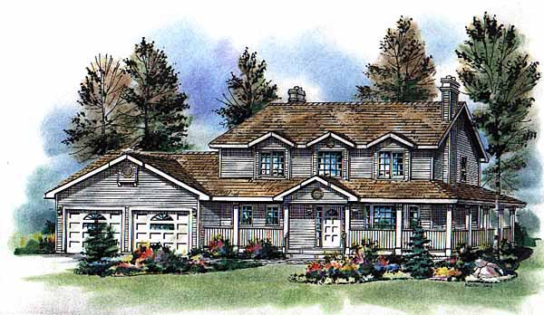 Country Farmhouse Elevation of Plan 98815