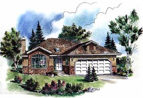 European , Bungalow House Plan 98816 with 3 Beds, 2 Baths, 2 Car Garage Elevation