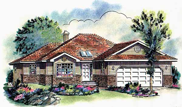 Bungalow Mediterranean House Plan 98818 Elevation
