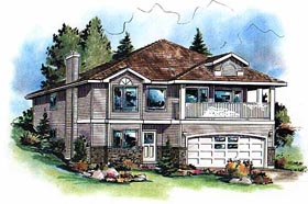 House Plan 98832 | European Style Plan with 1602 Sq Ft, 3 Bedrooms, 2 Bathrooms, 2 Car Garage Elevation