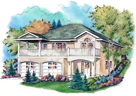 House Plan 98833 | European Style Plan with 1284 Sq Ft, 3 Bedrooms, 2 Bathrooms, 2 Car Garage Elevation