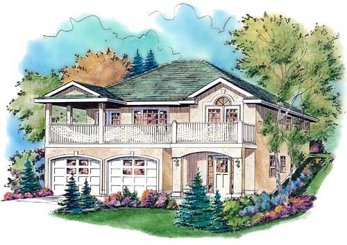 European, Narrow Lot House Plan 98833 with 3 Beds, 2 Baths, 2 Car Garage Front Elevation