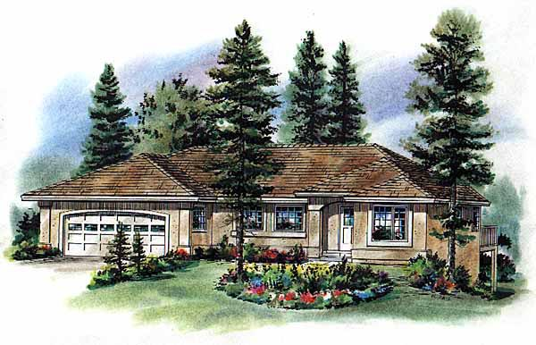 Florida, One-Story House Plan 98835 with 3 Beds, 2 Baths, 2 Car Garage Elevation