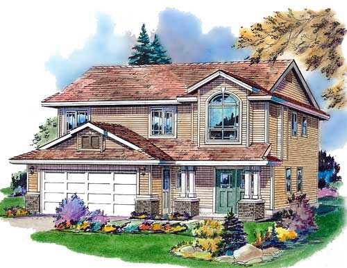 Narrow Lot Traditional Elevation of Plan 98839