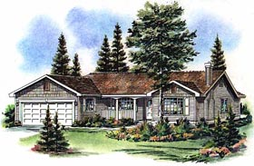Ranch House Plan 98840 with 3 Beds, 2 Baths, 2 Car Garage Elevation